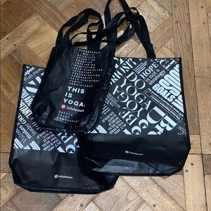 3 lulu lemon bags ; 2 big 14x16 & one small 12x9